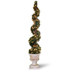National Tree Company Pre-Lit 60' Artificial Juniper Spiral Tree