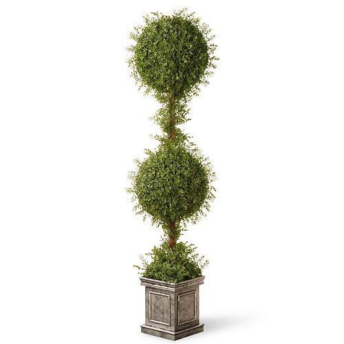 "National Tree Company 60"" Artificial Mini Tea Leaf Square Base Two-Ball Topiary"