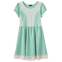 Girls 7-16 2HIP Crochet Scuba Skater Dress