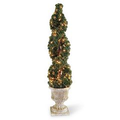 National Tree Company Pre-Lit 54' Artificial Double Cedar Spiral Plant