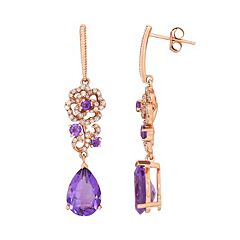 10k Rose Gold Amethyst & 1/4 Carat T.W. Diamond Flower Drop Earrings