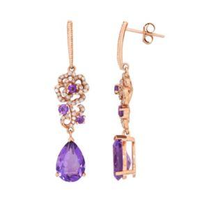 10k Rose Gold Amethyst & 1/4 Carat T.W. Diamond Flower Drop Earrings