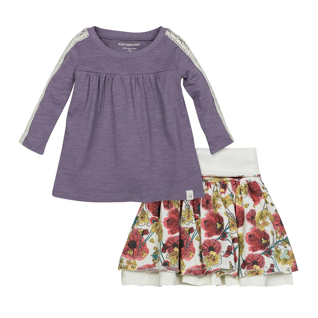 Toddler Girl Burt's Bees Baby Crochet Sleeve Tee & Reversible Skirt Set