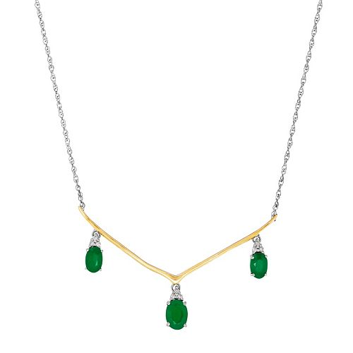Two Tone Sterling Silver Emerald & Diamond Accent V Necklace