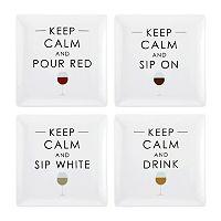 Pfaltzgraff Keep Calm 4-pc. Square Appetizer Plate Set