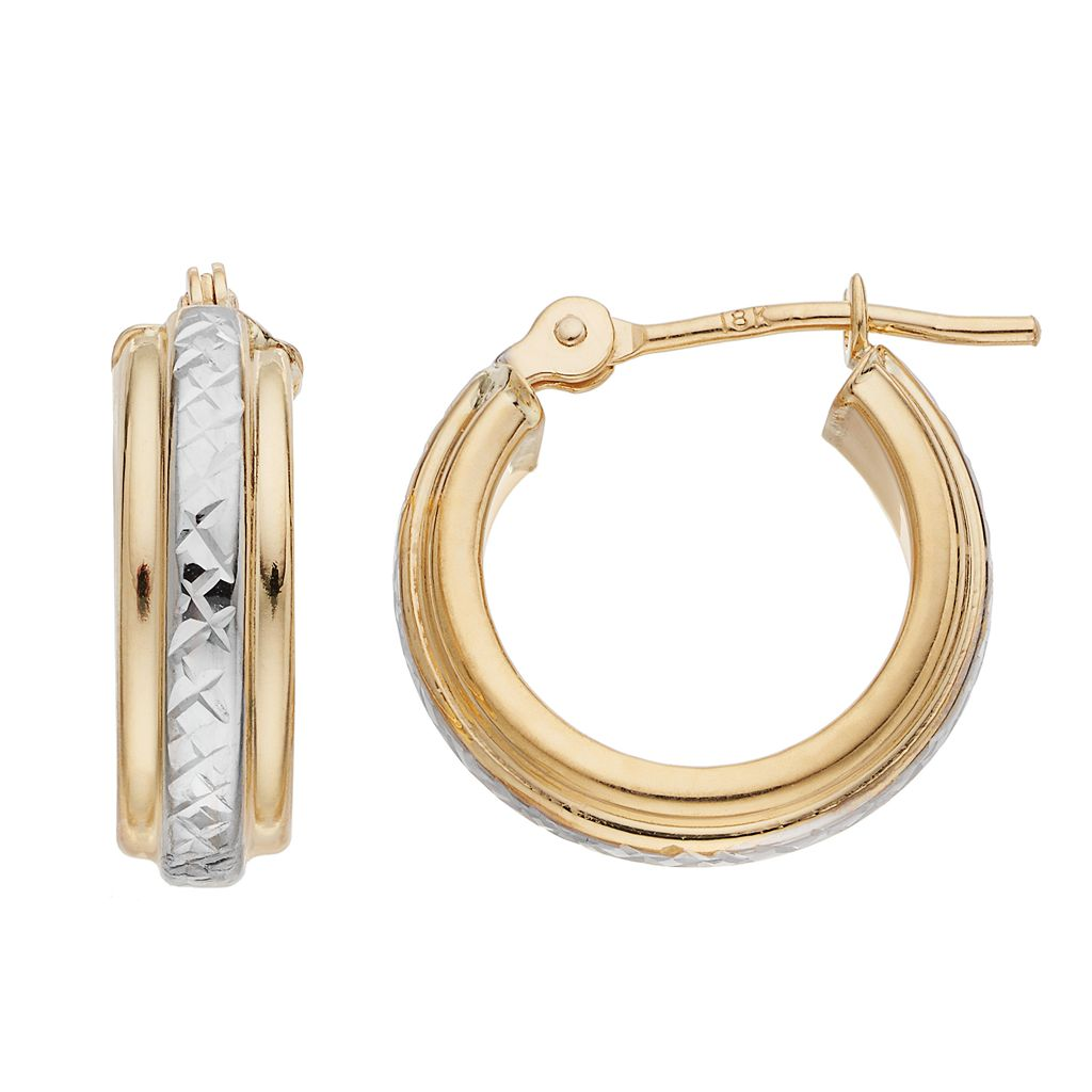 Two Tone 18k Gold Textured Hoop Earrings