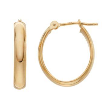 18k Gold Polished Oval Hoop Earrings