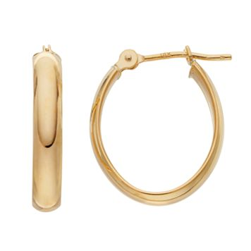 18k Gold Polished Oval Hoop Earrings