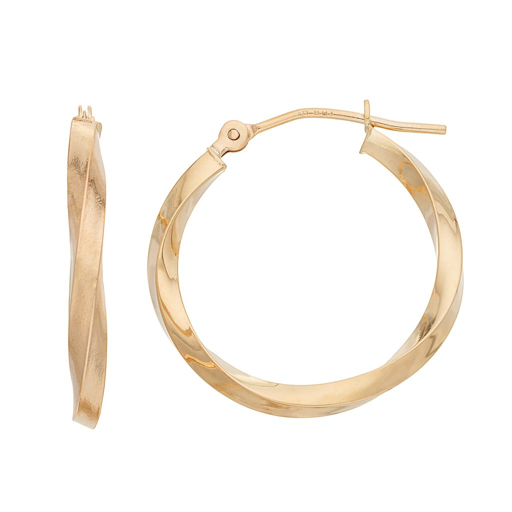 18k Gold Polished Twist Hoop Earrings