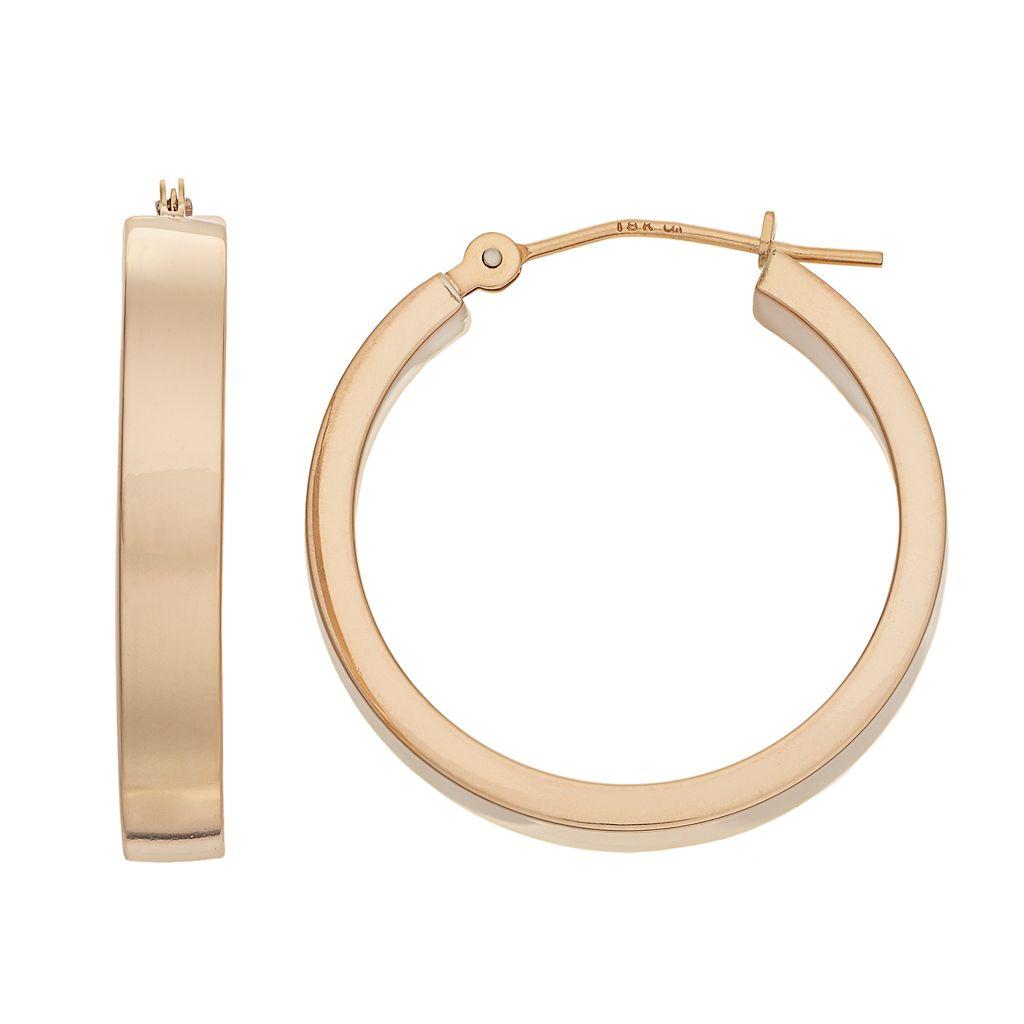 18k Gold Tube Hoop Earrings