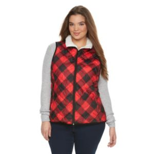 Juniors' Plus Size SO® Sherpa Plaid Puffer Vest