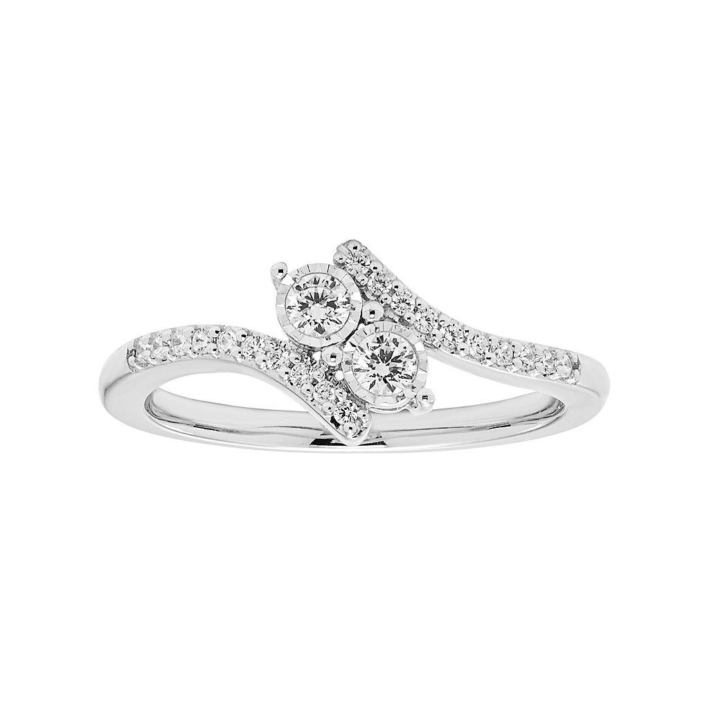 Sterling Silver 1/4 Carat T.W. Diamond 2-Stone Ring