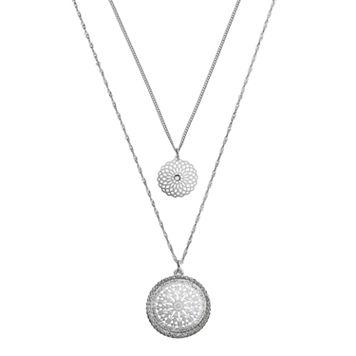 LC Lauren Conrad Sodalite Filigree Medallion Pendant Necklace