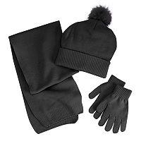 Girls 4-16 Berkshire 3-pc. Solid Scarf, Hat & Gloves Set