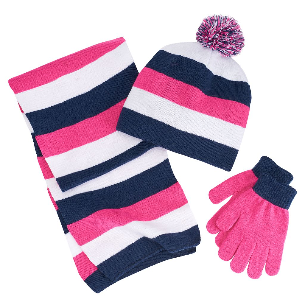 Girls 4-16 Berkshire 3-pc. Striped Scarf, Hat & Gloves Set