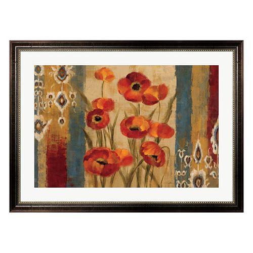 Metaverse Art Ikat Floral Tapestry Framed Wall Art