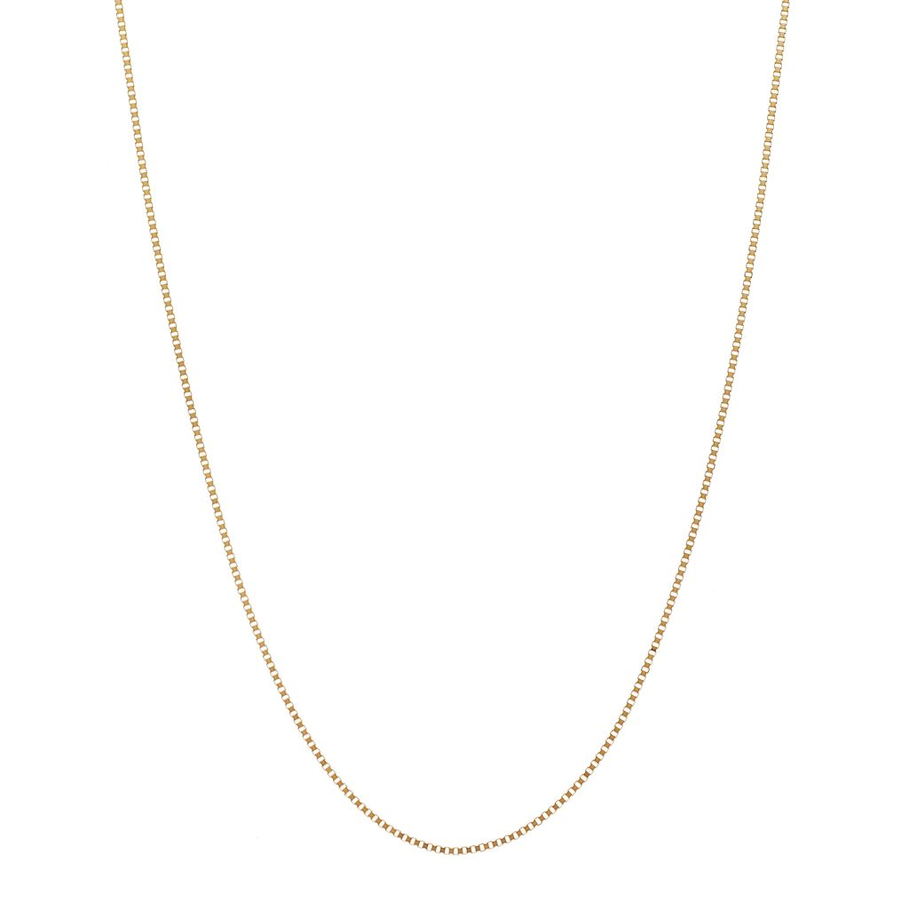 18k Gold Box Chain Necklace - 18 in.