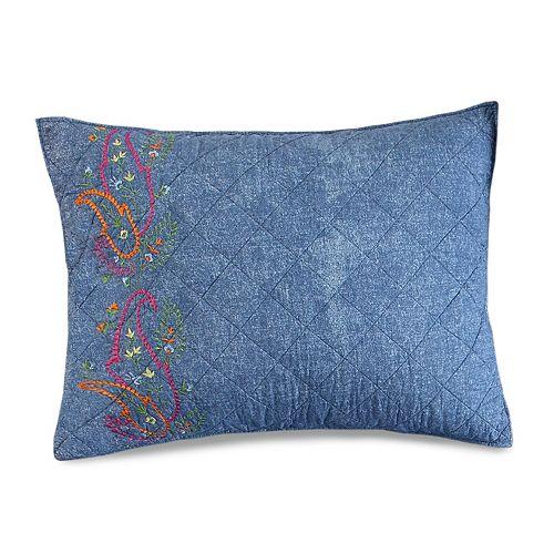 Kelly Denim Embroidered Standard Sham