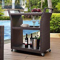 Palm Harbor Outdoor Faux Wicker Bar Cart