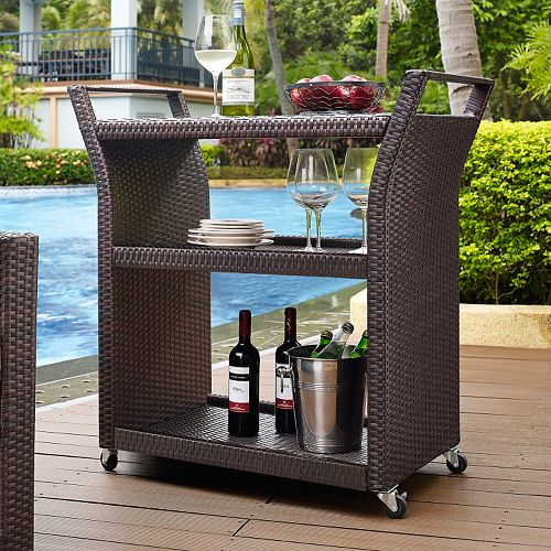 Palm Harbor Outdoor Faux Wicker Bar Cart