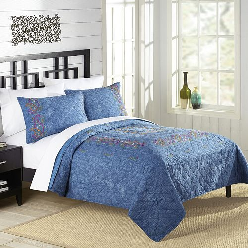 Kelly Denim Embroidered Quilt