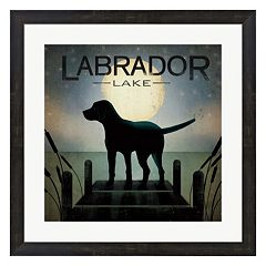 Metaverse Art Moonrise Dog 'Labrador Lake' Framed Wall Art