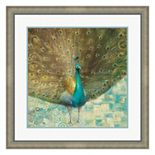 Metaverse Art Teal Peacock on Gold Framed Wall Art