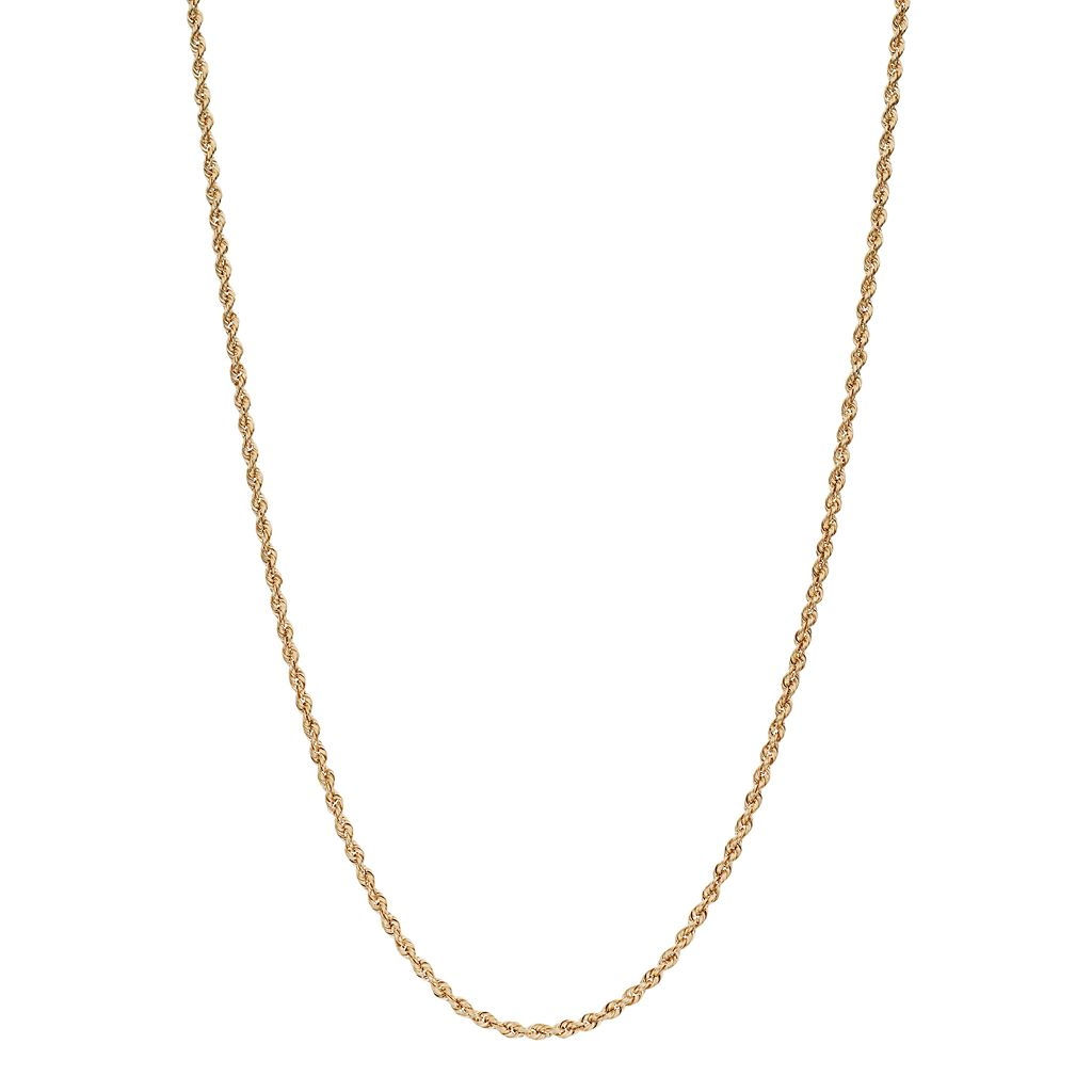 18k Gold Hollow Rope Chain Necklace - 22 in.