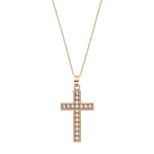 Two Tone 18k Gold Textured Cross Pendant Necklace