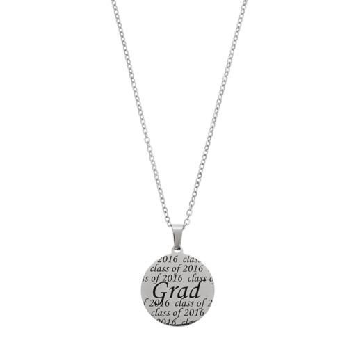 """Stainless Steel Class of 2016 """"Grad"""" Disc Pendant Necklace"""