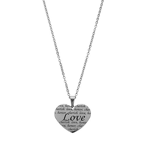 "Stainless Steel ""Love, Honor, Cherish"" Heart Pendant Necklace"