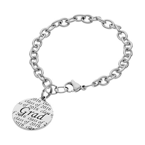 "Stainless Steel Class of 2016 ""Grad"" Disc Charm Bracelet"