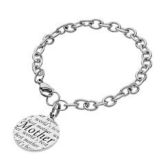 Stainless Steel 'World's Best Mother' Disc Charm Bracelet