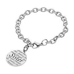 Stainless Steel 'Sister' Disc Charm Bracelet