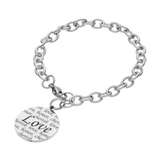 "Stainless Steel ""Love, Honor, Cherish"" Disc Charm Bracelet"
