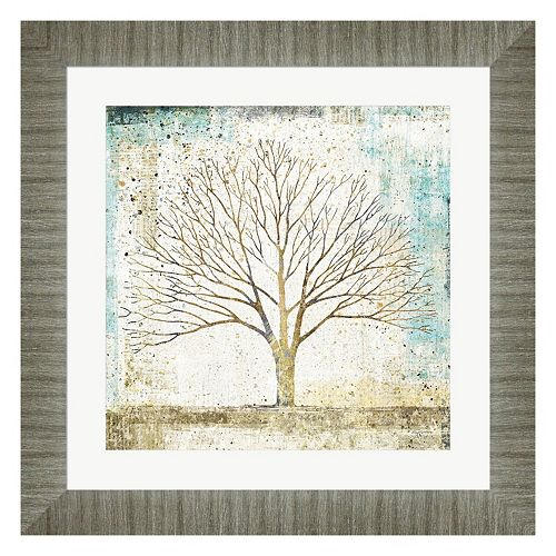 Metaverse Art Solitary Tree Collage Framed Wall Art