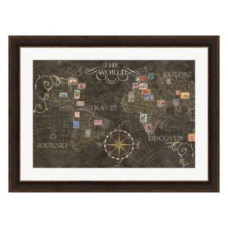 Metaverse Art Old World Stamps Framed Wall Art