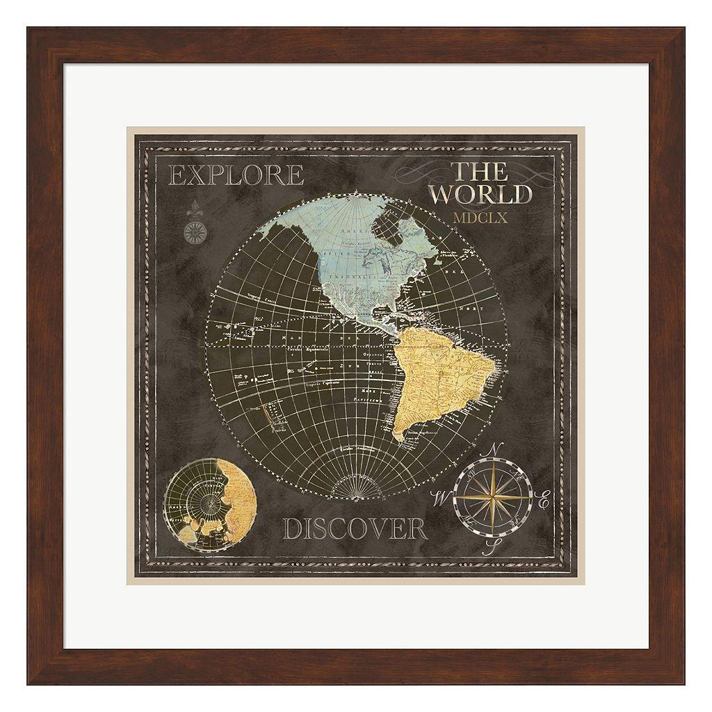 Metaverse Art Old World Map I Framed Wall Art
