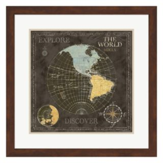 Metaverse Art Old World Map I Framed Wall Art