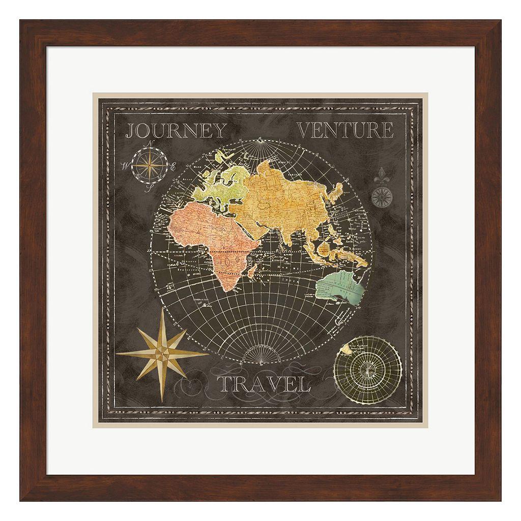 Metaverse Art Old World Map II Framed Wall Art