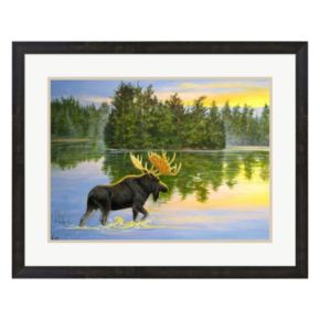 Metaverse Art Wilderness Lake Moose Framed Wall Art