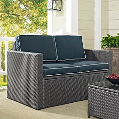 Palm Harbor Outdoor Gray Wicker Loveseat