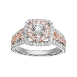 Simply Vera Vera Wang Two Tone 14k White Gold 1 1/4 Carat T.W. Diamond Halo Engagement Ring