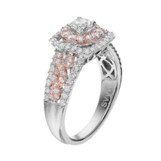 Simply Vera Vera Wang Two Tone 14k White Gold 1 1/4 Carat T.W. Diamond Halo Engagement Ring