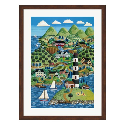 Metaverse Art Lighthouse Island Framed Wall Art