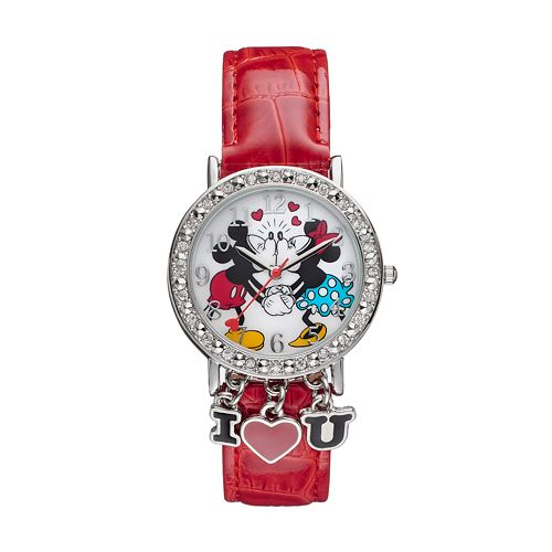 Disney's Kissing Mickey & Minnie Mouse Women's Crystal Charm Watch