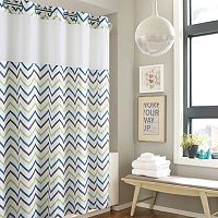 Hookless Tribal Chevron Shower Curtain with Liner