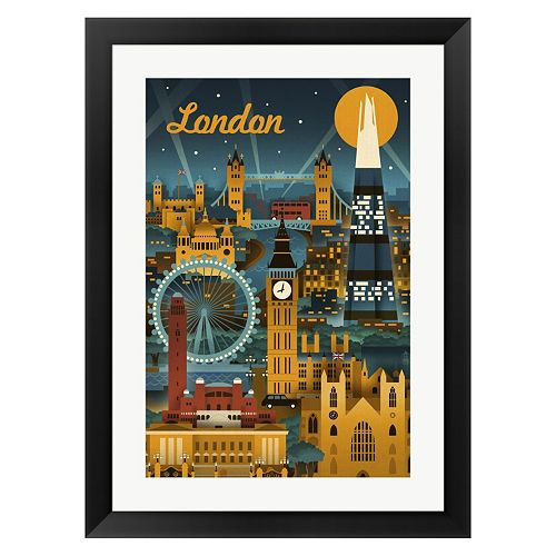 Metaverse Art London Evening Ferris Wheel Framed Wall Art