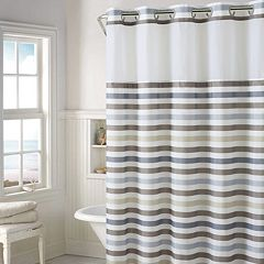 Hookless Hampton Multi-Striped Shower Curtain with Liner