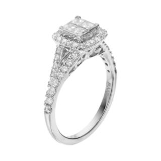 Simply Vera Vera Wang 14k White Gold 7/8 Carat T.W. Diamond Square Halo Engagement Ring